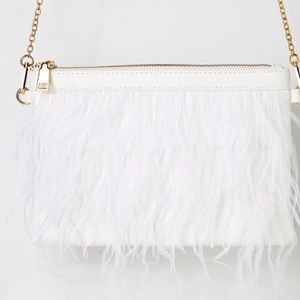 Lulus Amiyah White Feather Clutch